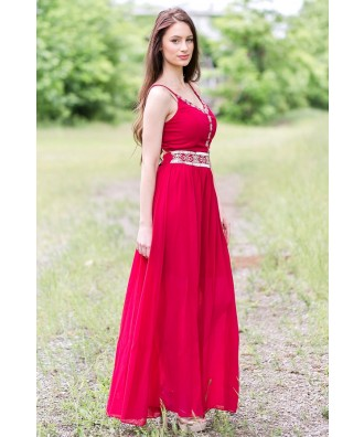 Wine Red Maxi Dress, Cute Summer Maxi Dress Online, Embroidered Maxi