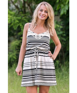 Black and Ivory Stripe Sundress Online, Cute Summer Dress