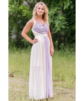 Lilac and Cream Maxi Dress, Boho Maxi Dress, Lace Maxi Dress Online
