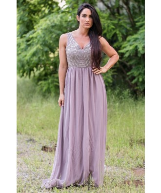 Lavender Grey Maxi Dress Online, Beaded Prom Dress Online