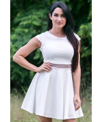 Cute Off White Sundress, White Capsleeve Dress Online, Cute Summer Dress