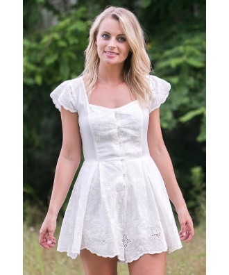White Eyelet Romper, Cute Summer Romper