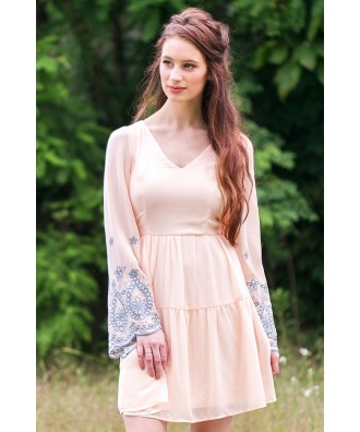 Cute Embroidered Bell Sleeve Dress, Boho Hippie Dress Online