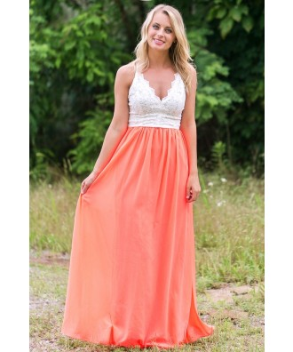 Neon Coral and Lace Maxi Dress, Cute Summer Maxi Dress