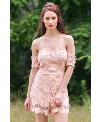 Peach Lace Off Shoulder Romper, Cute Summer Romper, Lace Romper