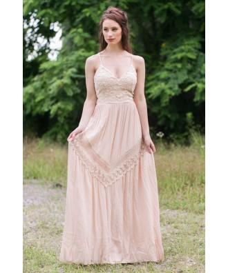 Beige Open Back Maxi Dress, Cute Summer Maxi Dress, Boho Hippie Dress Online