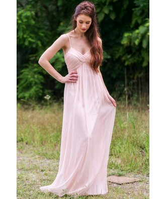 Pale Pink Maxi Bridesmaid Dress, Blush Pink Prom Dress