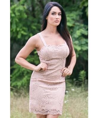 Beige Lace Dress Online, Cute Beige Dress, Beige Lace Cocktail Dress