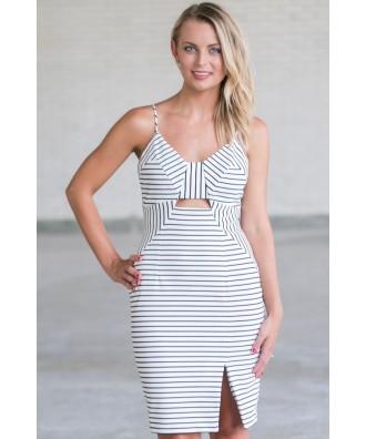 Cute Black and White Stripe Dress, Cute Summer Cocktail Dress, Online Boutique Dress