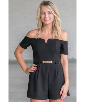 Cute Black Romper, Belted Black Romper, Off Shoulder Romper