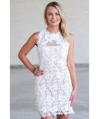 White Lace Rehearsal Dinner Dress, Cute Lace Dress Online, Boutique Dress, White Pencil Dress