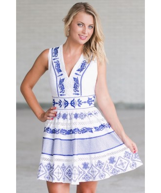 Blue and White Embroidered Sundress, Cute A-Line Dress, Online Boutique Summer Dress