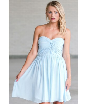 Cute Sky Blue Bridesmaid Dress, Baby Blue Bridesmaid Dress, Pale Blue Party Dress
