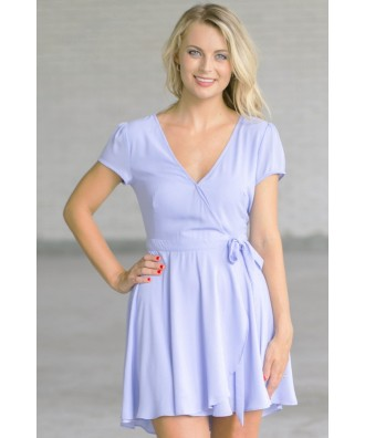 Cute Pale Blue Wrap Dress, Sky Blue Dress, Periwinkle Blue Online Boutique Dress