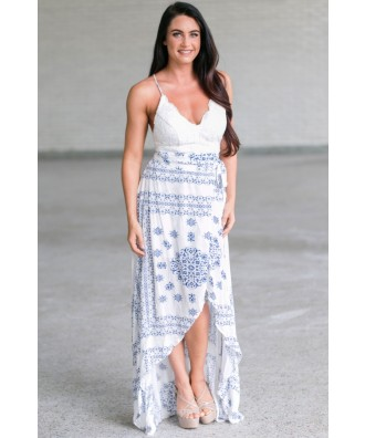 Cute Navy and White Printed Lace Maxi Dress, Cute Summer Maxi Dress, Blue and White Online Boutique Dress