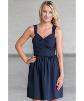 Cute Navy Dress, Cute Sundress Online, Navy A-Line Summer Dress