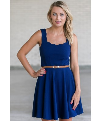Royal Blue Belted A-Line Dress, Cute Blue Dress, Blue Summer Dress, Online Boutique Dress