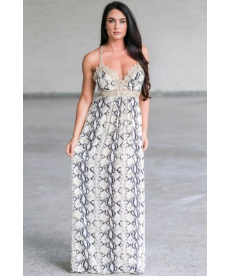 Cute Snakeskin Maxi Dress, Animal Print Maxi Dress, Navy and Gold Printed Maxi
