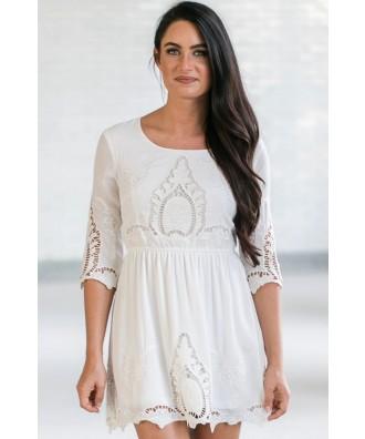 White Eyelet Summer Dress, Cute White Online Boutique Dress, White Sundress