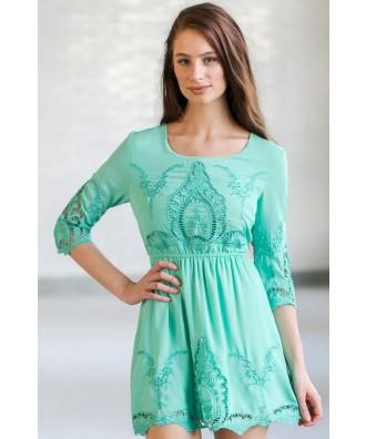 Mint Eyelet Embroidered Dress, Cute Mint Summer Dress, Mint Sundress, Online Boutique Dress