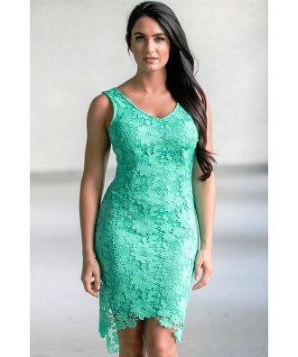 Jade Green Lace High Low Dress, Cute Lace Dress Online, Jade Lace High Low Party Dress