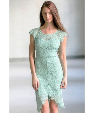 Cute Lace Dress Online, Sage Green Lace Sheath Dress, Light Green Lace High Low Sheath Dress