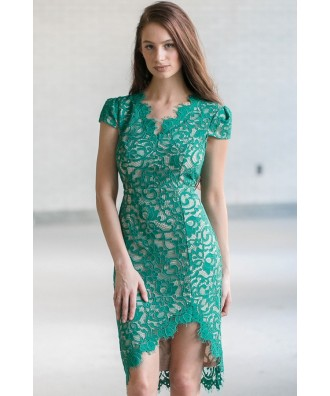 Bright Green Lace Sheath Dress, Cute Green Party Dress, Online Boutique Dress, Lace Cocktail Dress