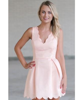 Peach Party Dress, Peach A-Line Scallop Dress, Cute Peach Dress, Peach Summer Dress