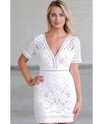 White Lace Sheath Dress, Cute White Dress, Rehearsal Dinner Dress, Bridal Shower Dress