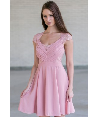 Pink Lace Dress Online, Cute Pink Bridesmaid Dresses, Pink Lace Dress