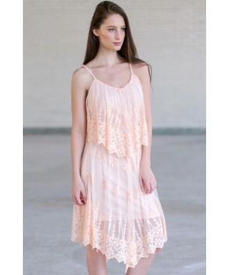 Pink Embroidered Flutter Top Dress, Cute Summer Dress, Boho Dress, Roaring 20s Dress, Great Gatsby Dress
