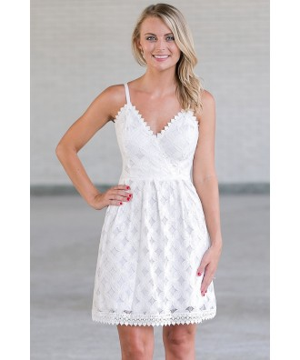 Off White Lace A-Line Party Dress, Cute Ivory Summer Sundress Online, Rehearsal Dinner Dress