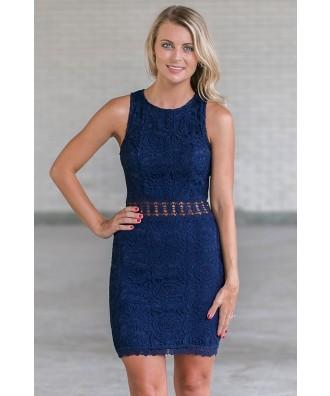 Cute Navy Lace Sheath Dress, Juniors Online Boutique Dress, Cute Navy Summer Dress