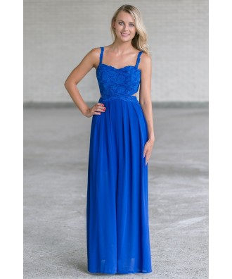 Bright Royal Blue Lace Maxi Dress, Juniors Boutique Maxi Online, Cute Summer Maxi