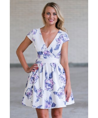 Purple Floral Print A-Line Party Dress, Cute Summer Dress Online