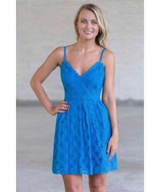 Bright Blue A-Line Lace Dress, Cerulean Blue Summer Dress Online