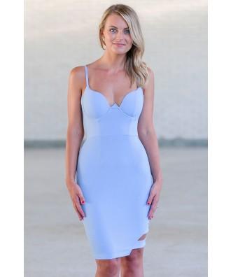 Perwinkle Blue Bodycon Dress, Cute Club Dress, Sky Blue Cocktail Dress Online