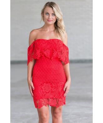 Red crochet lace off shoulder dress, Cute Juniors Dress Online