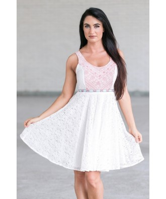 White and Red Embroidered A-Line Summer Dress, Cute Sundress Online