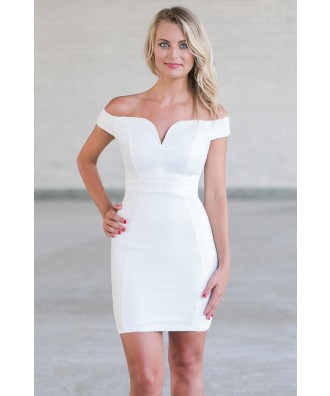 Off White Off Shoulder Cocktail Dress, Cute Juniors Dress Online