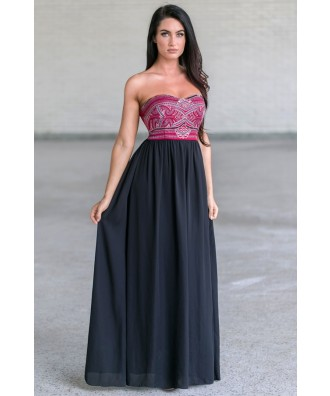 Black and Burgundy Embellished Maxi Dress, Cute Formal Dress