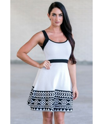 Black and White Contrast Pattern Sweater Dress, Cute Dress Online