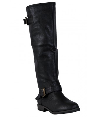 Cute Black Red Zipper Boots, Black Riding Boots