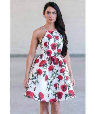 Red and White Rose Print Party Dress, Cute Juniors Dress Online