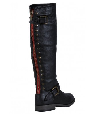 7a4549b44e8 Black Red Zipper Boots, Cute Studded Black Boots Lily Boutique