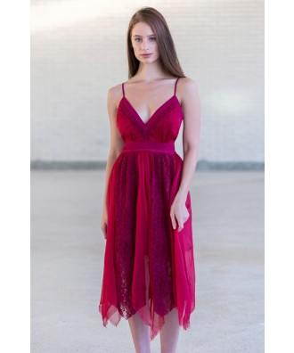 Burgundy Asymmetrical Flutter Party Dress
