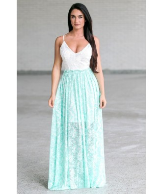 Cute Mint Green Open Back Maxi Dress, Summer Juniors Maxi Dress Online