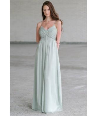 Cute Sage Green Maxi Dress Online, Maxi Bridesmaid Dress