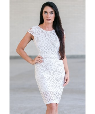 Ivory Lace Sheath Dress, Cute Ivory Party Dress, Ivory Lace Cocktail Dress