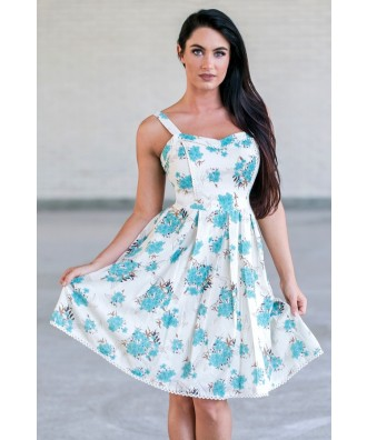Jade Blue Floral Print Summer Sundress, Cute Juniors A-line Dress